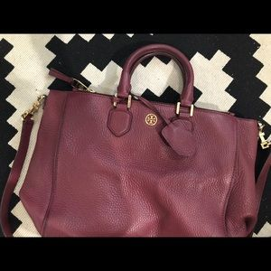 Tory Burch Burgundy Zipper Satchel